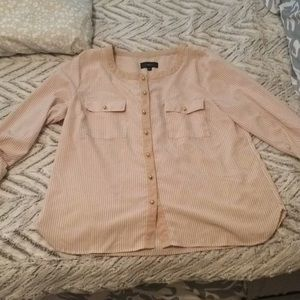 Tan and white striped blouse